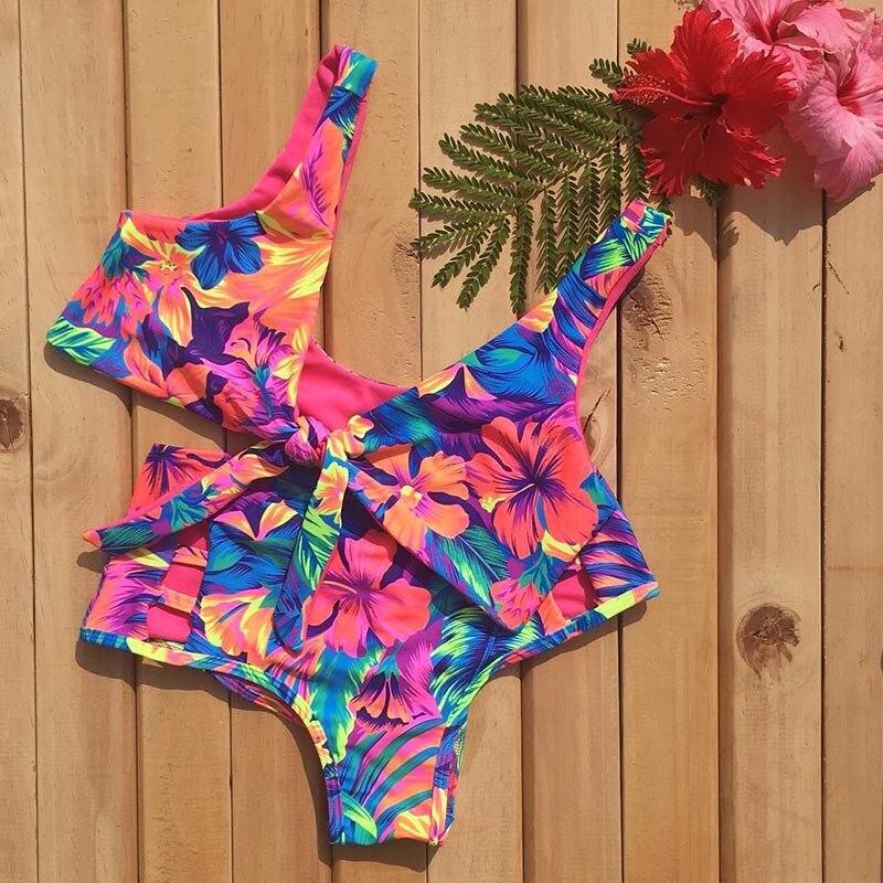 2019 Sexy Bikini Swimwear Women Swimsuit Push Up Biquini Brazilian Bikini Set Tie Up Summer Beach Wear Print Bathing Suit Female