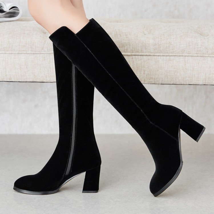 Tacón La {zorssar} Cómodas Rebaño Invierno Encima 2019 Caliente Negro Botas Alto De Por Las Nuevo Mujeres Mujer Zapato Rodilla Alta Cuadrado Cuero nnarW4