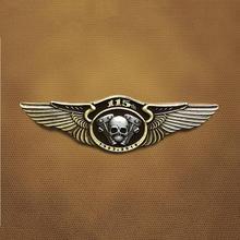 Классический ретро 115th юбилей металлический череп двукрылая брошки для байкеров значок двигателя мотоцикла клуб для одежды шляпа воротник булавка