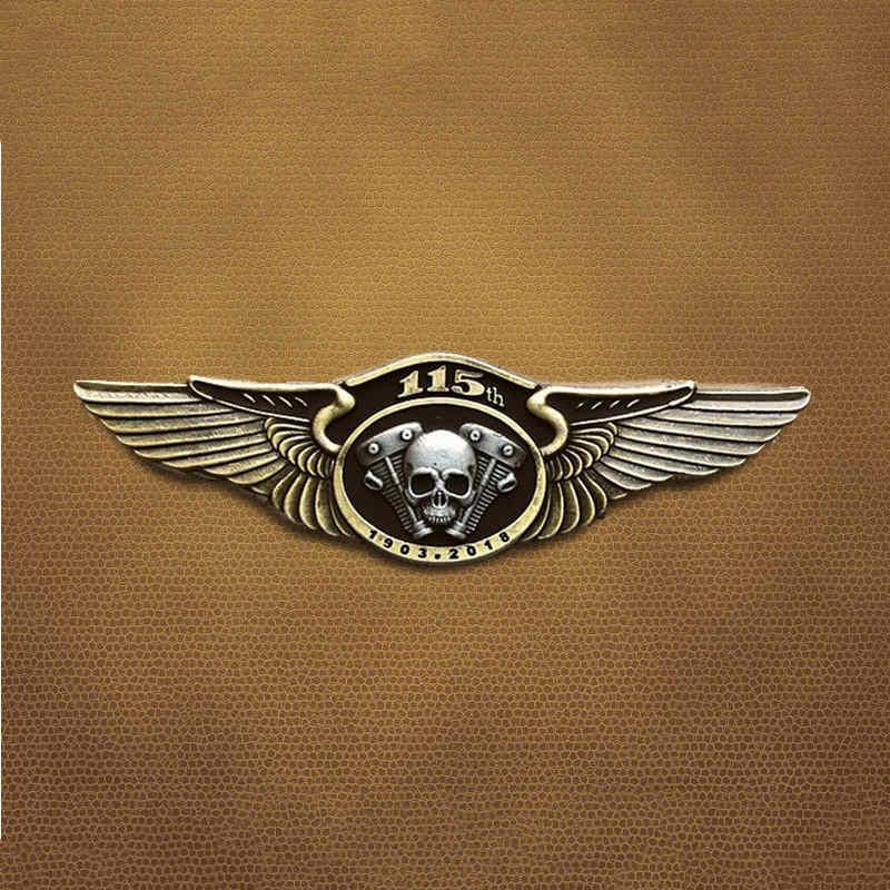 Klassieke Retro 115th Anniversary Metalen Schedel Double Wing Biker Broches Badge Motor Motorcycle Club Voor Kleding Hoed Kraag Pin