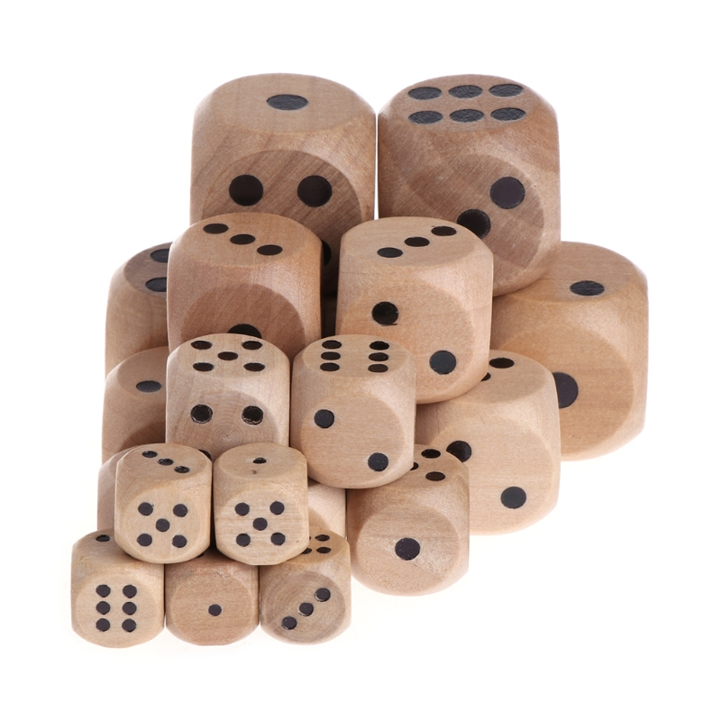 5pcs 6 Sided Wood Dice Mahjong Party Number Or Point Round Corner Kid Toys Game