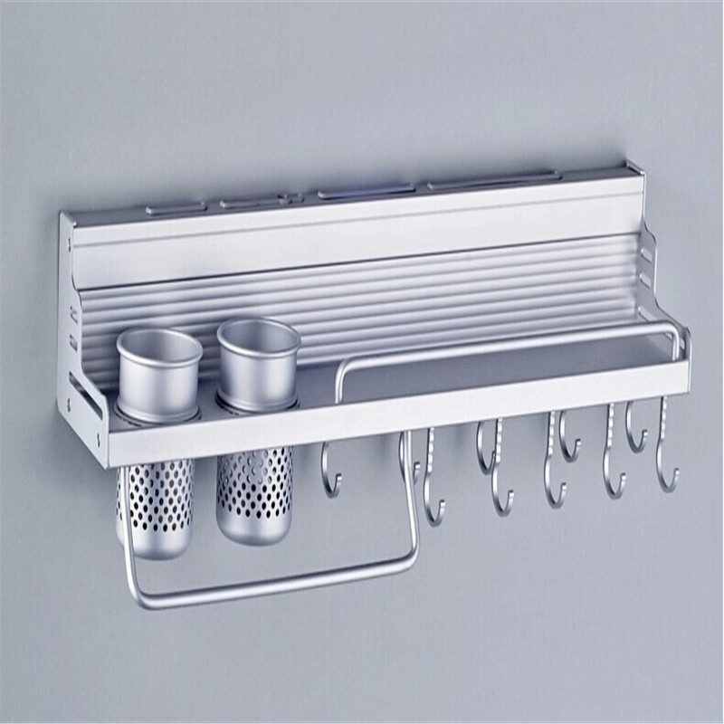 Nueva cocina buen ayudante Utensilios aluminio almacenamiento rack  organizador con Ganchos Tazas multifunción titular de especias Herramientas   232423 en ... 52c97360ef73