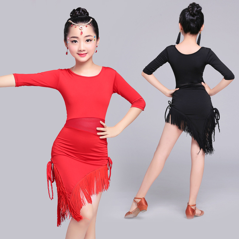 Songyuexia Mid Long Sleeve Lace Mesh Mordern Ballroom Dancing Dresses For Kids Sexy Salsa Tango Skirt Children Latin Dance Dress