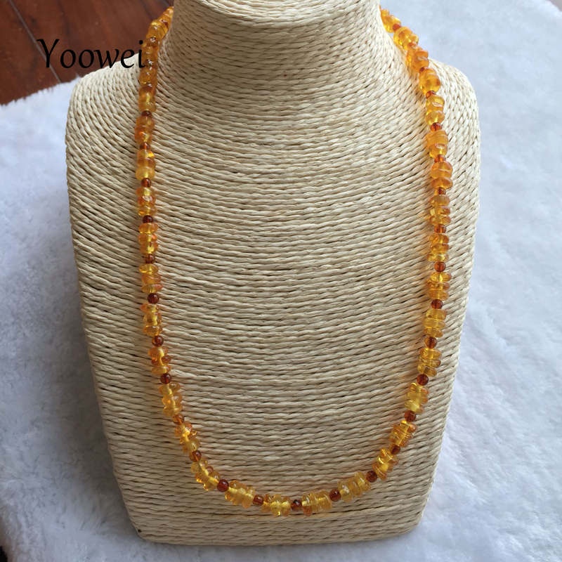 Yoowei 60cm Long Amber Necklace 100% Real Amber Beads Trendy Sweater Chain Necklace Amber Women Jewelry Gifts for Etsy Suppliers yoowei 4mm natural amber bracelet for women small beads no knots multilayered sweater chain necklace genuine long amber jewelry
