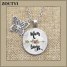Best selling MOM OF BOYS necklace, mom charm alloy glass pendant son mother, mothers love, day gift.