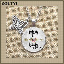 Best selling MOM OF BOYS necklace, mom charm alloy glass pendant necklace, son mother, mother's love, mother's day gift.(China)