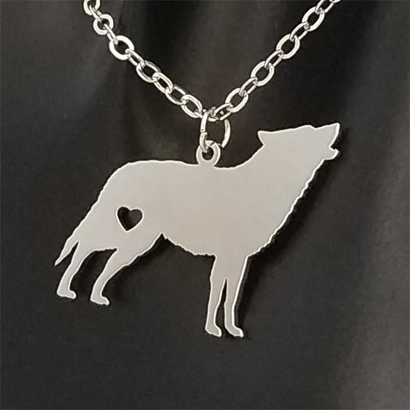 Stainless Steel Golden Wolf Pendant Necklace Silver Love Animal Necklace Men and Women Jewelry Valentine's Day Gift