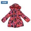 Outerwear do inverno do bebê 2015 Moomin Moda Poliéster bolso com zíper bolso vermelho parka parka inverno algodão meninas