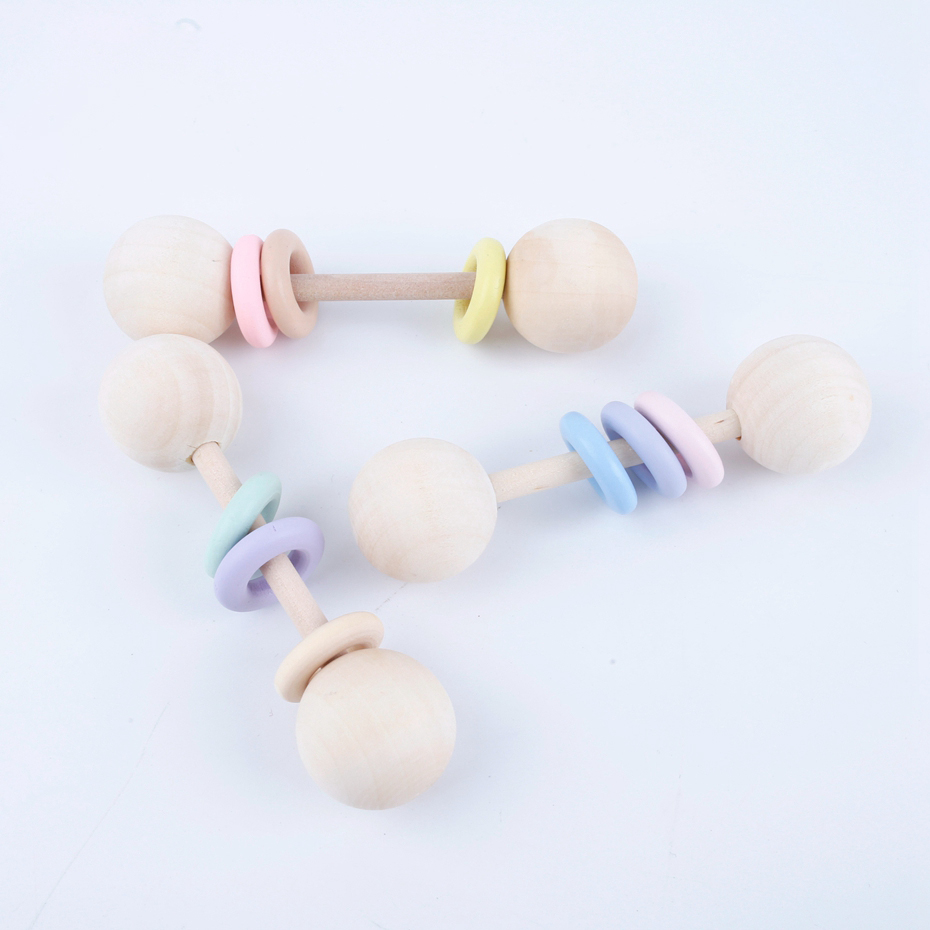 3PC Wooden Ring Neutral Play Gym Good Montessori Toys Non-toxic Christmas Baby Rattles Gifts Food Grade Wooden Teethers Toys