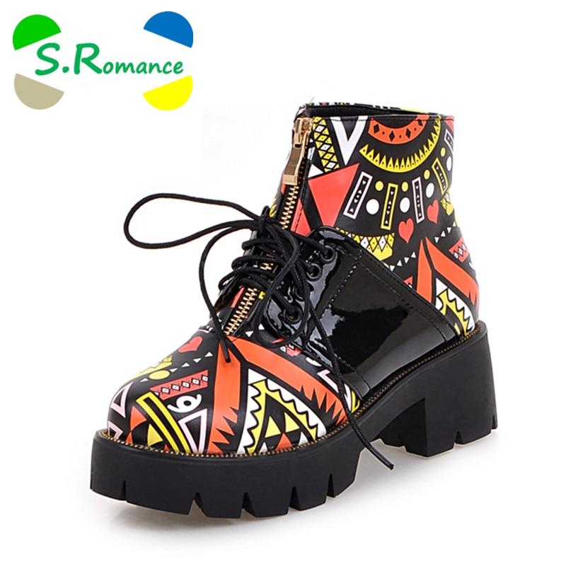 S. romance 플러스 크기 34 43 새로운 패션 여성 부츠 라운드 발가락 발목 레이스 업 부츠 펌프 여성 신발 오렌지 퍼플 sb376-에서앵클 부츠부터 신발 의  그룹 1