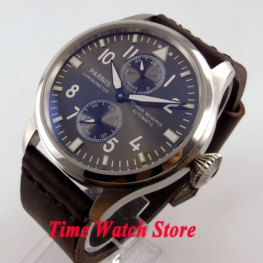 Parnis 47mm black dial luminous power reserve indicator ST2542 Automatic Self Wind movement Men s watch