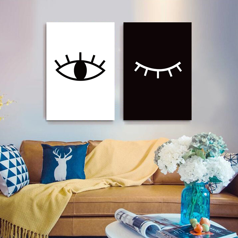Bianche Wall Minimalist Black and White Abstract Eyes Canvas Painting Art Print Poster Paintings Home Decoration Decor
