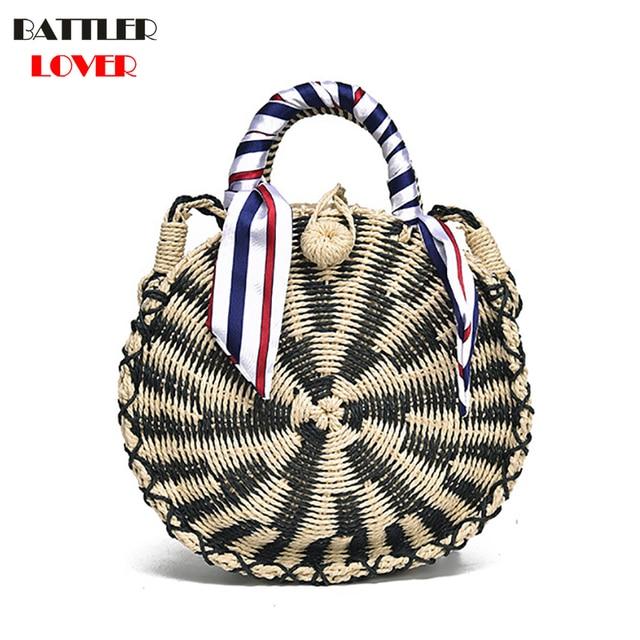 def66e6279 Handmade Rattan Woven Round Handbag Women 2018 Summer Straw Knitted  Crossbody Handbag Circle Bohemia Beach Cross