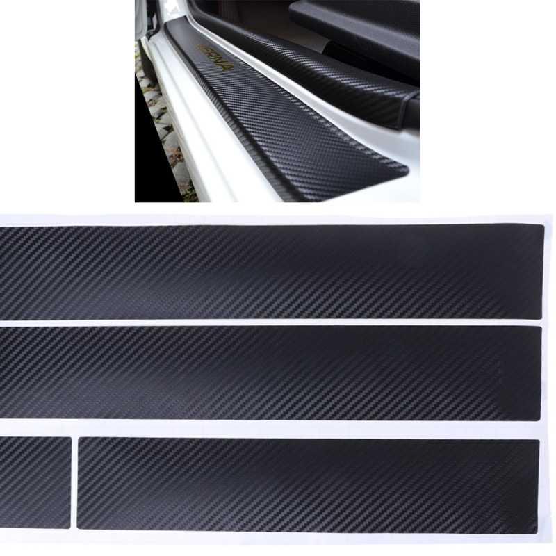 Carro do Peitoril Da Porta Scuff pedal bem-vindo QILEJVS Protector Fibra De Carbono Adesivo Para KIA RIO K2 #14521 #