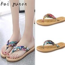 kai yunon Women Fashion Summer Flat Flip Flops Sandals Loafers Bohemia Shoes Sep 15