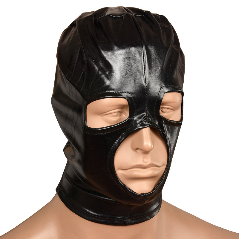 Sexy PU Leather Latex Hood Black Mask Breathable Headpiece Fetish BDSM Belt Face Mask Adult Toys For Party Adult Games Sex Toys