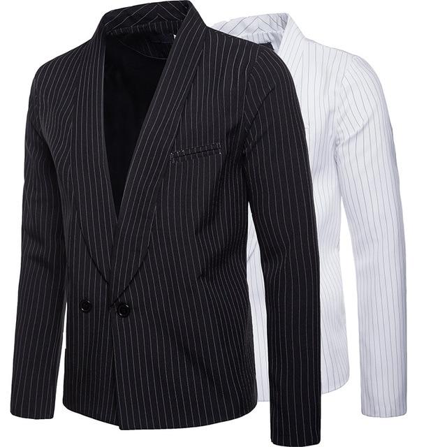 Mens Striped One Button Blazer Jacket | 2018 Brand New Winter Male Retro Style Suit Jacket Man Formal Blazer Jacket Plus 2XL