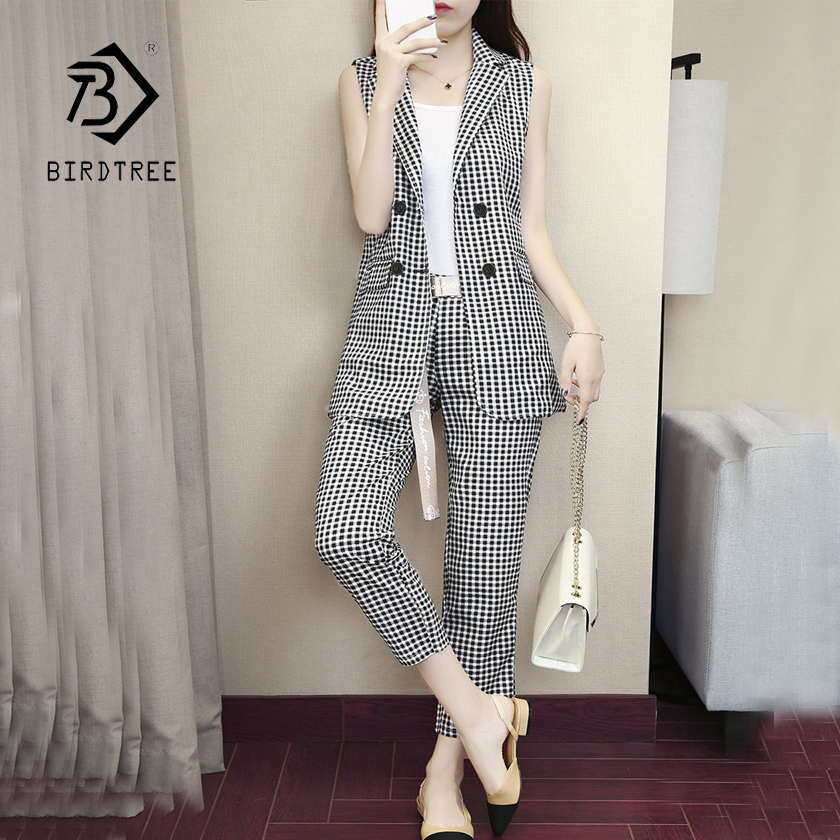 Black White Plaid Double Breasted Notched Women Blazer Vest amp High Waist Pants Elegant Office Lady Blazer Suits Hots S87440X in Pant Suits from Women 39 s Clothing