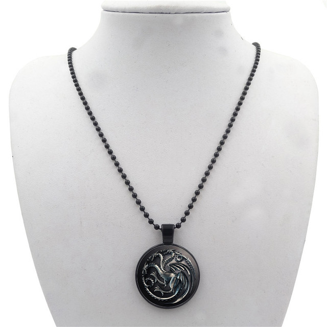 Game of Thrones House Targaryen Black Bead Chain Necklace Jewelry