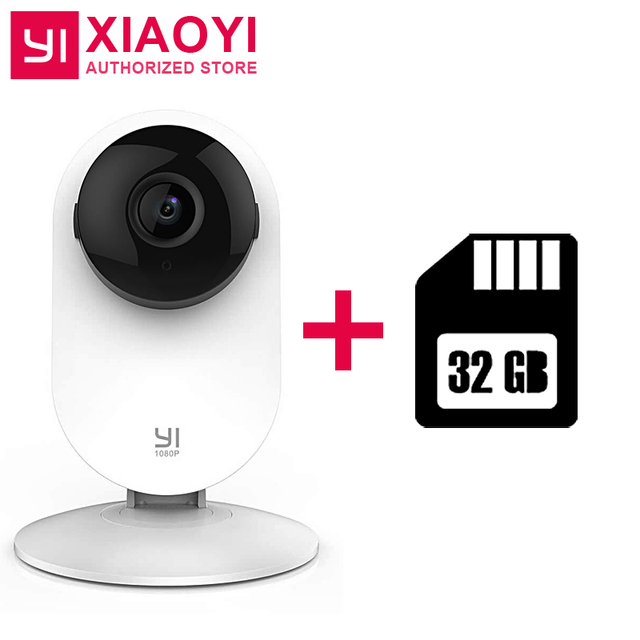 Original Xiaoyi YI 1080P Home Camera + 32G Card Night Vision Motion/Baby Crying Detection 111 Degree Built-in MIC 2 Ways Audio