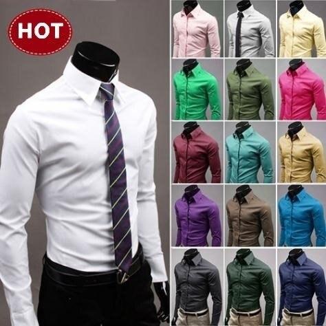 2019 camisas dos homens à moda manga longa chemise homme masculino 17 cores tamanho: M-XXXL camisas sociais hombre vestir camisa casual 1