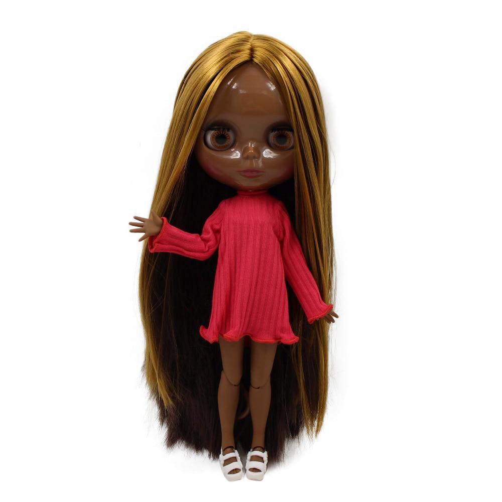 factory blyth doll super black skin tone darkest skin straight golden mix brown hair joint body 1/6 30cm BL0736/0222