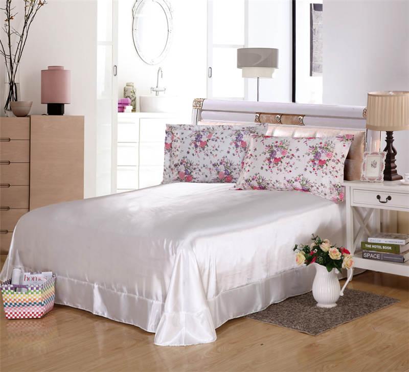 Satén de seda edredón cubre colchas Twin full Queen King Size dormitorio decoración rosa flor púrpura niñas inicio - 3