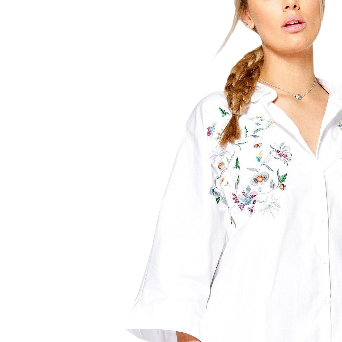 Kissmilk Women Plus Size Foral Embroidery Turn Down Collar Shirt Nine Quarter Sleeve Solid Basic Shirt Large Size Casual Shirt 2