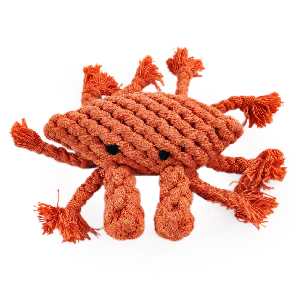 Pet Rope Toy Chew Crab Cotton Knot Teeth Clean for Aggressive Dog