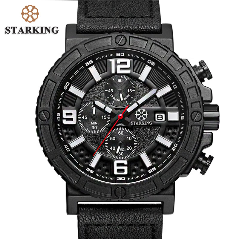 STARKING Genuine Leather Sport Watches 2017 Chronograph Russian Military Watches Army Men's Wristwatch 30M Water Resistant Urdu