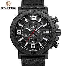 STARKING Genuine Esporte Couro Relógios 2017 Chronograph Relógios Dos Homens do Exército Militar Russa Relógio de Pulso 30 M Resistente À Água Urdu