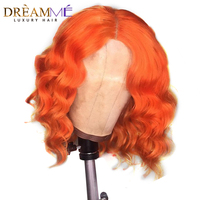 Colored Human Hair Wigs Orange Short Bob Lace Front Wig Preplucked Hairline Brazilian Remy Hair Deep Wave Wig For Women Black