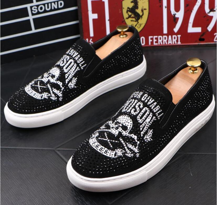 Men Glitter Shoes Mens Fashion rhinestone Casual Flats Men's Designer Dress Shoes Sequined Loafers Men's Platform Driving Shoes 27