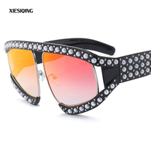 2018 New Luxury Cat Eye Sunglasses Ladies Designer Brand Inlaid Pearl Sunglasses Ladies Retro Oversized Female Goggles