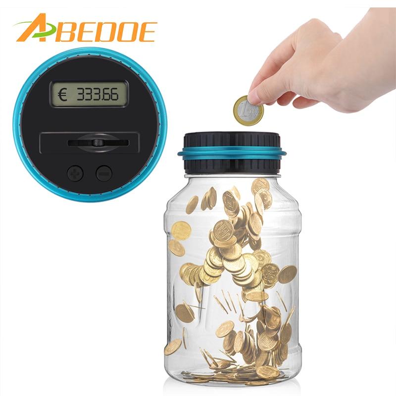 Electronic digital counting coin bank money saving box jar lcd display counter piggy bank for - Counting piggy bank ...