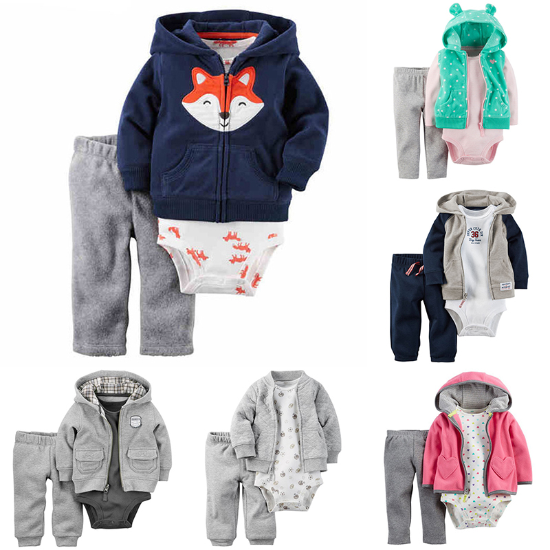Baby Boy Clothes 2018 Fashion Fox Animal Print Infant Girl Clothing Sets Toddler Costume And Pants 3PCS Newborn Bodysuits Set newborn baby boy girl clothes set short sleeve top bodysuits leg warmer bow headband 3pcs clothing outfits set