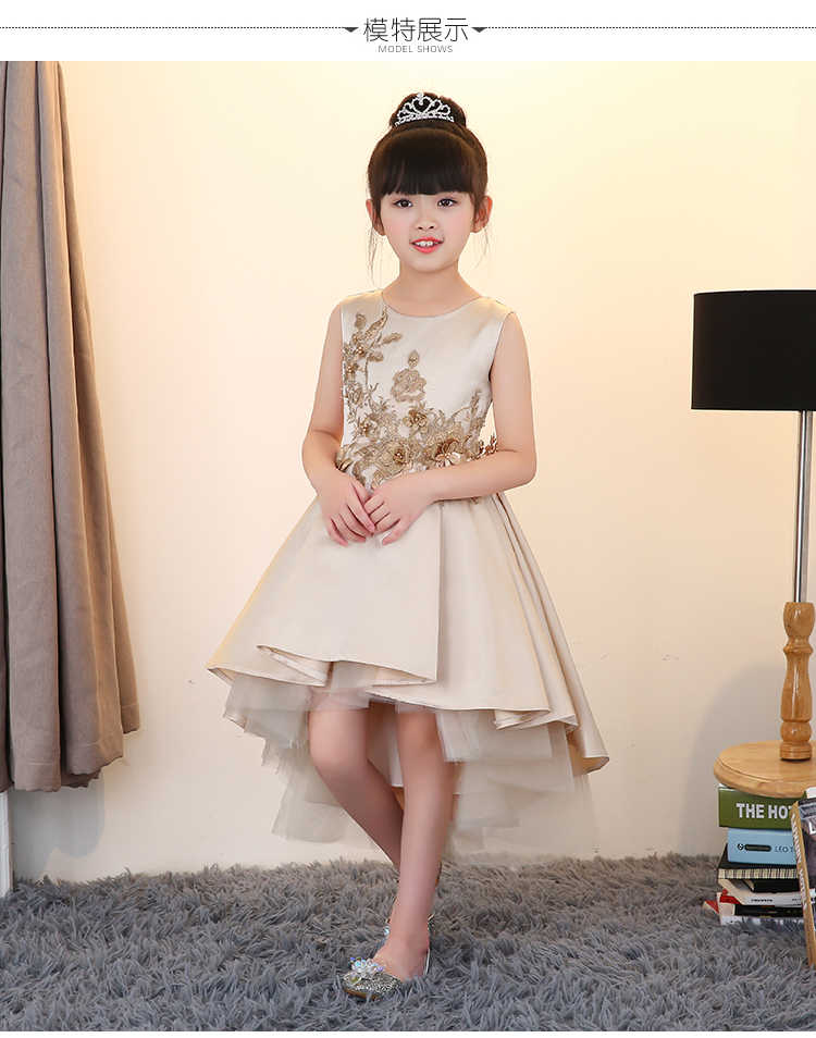 36a490a19a ... 2018 summer teenage girls flower girls dress princess costume formal  party 10 years old gold ...