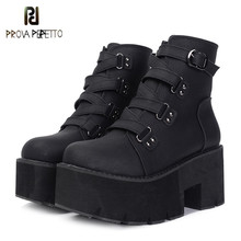 Prova perfetto Spring Ankle Boots Women Platform Boots Rubber Sole Buckle Black Leather PU High Heels Shoes Woman Comfortable
