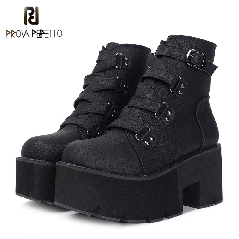 Prova perfetto Spring Ankle Boots Women Platform Boots Rubber Sole Buckle Black Leather PU High Heels Shoes Woman ComfortableProva perfetto Spring Ankle Boots Women Platform Boots Rubber Sole Buckle Black Leather PU High Heels Shoes Woman Comfortable