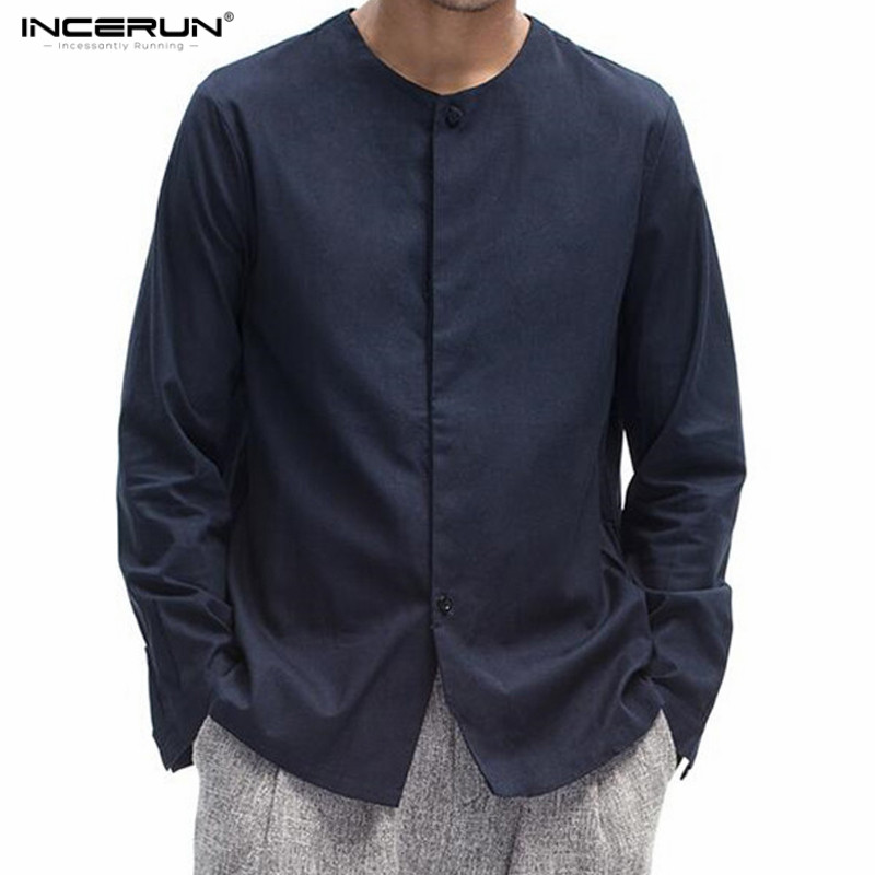 INCERUN Mes Chinese Style Long Sleeve Pure Color Collarless Shirt Mens Casual Slim Fit Cotton Linen Shirts Men Clothes 2018