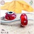 Moda Romântico 925 Sterling Silver Bolha Murano Vermelho Contas de Vidro Montagem Prata Europeu Charm Bracelet