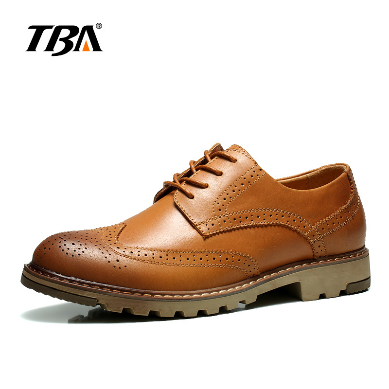 TBA Chinese Brand Men Real Cow Leather Casual Shoes Bloch Wave Type Design Bullock Fashion Size 38-44 EUR Brown/Black NO6862 casual waterproof boot silicone shoes cover w reflective tape for men black eur size 44 pair