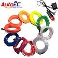 AutoEC 1 m/2 m/3 m/4 m/5 m flexível luz neon brilho el corda de fio de arame tira tira conduzida apartamento para luzes interior do carro do inversor # LQ313