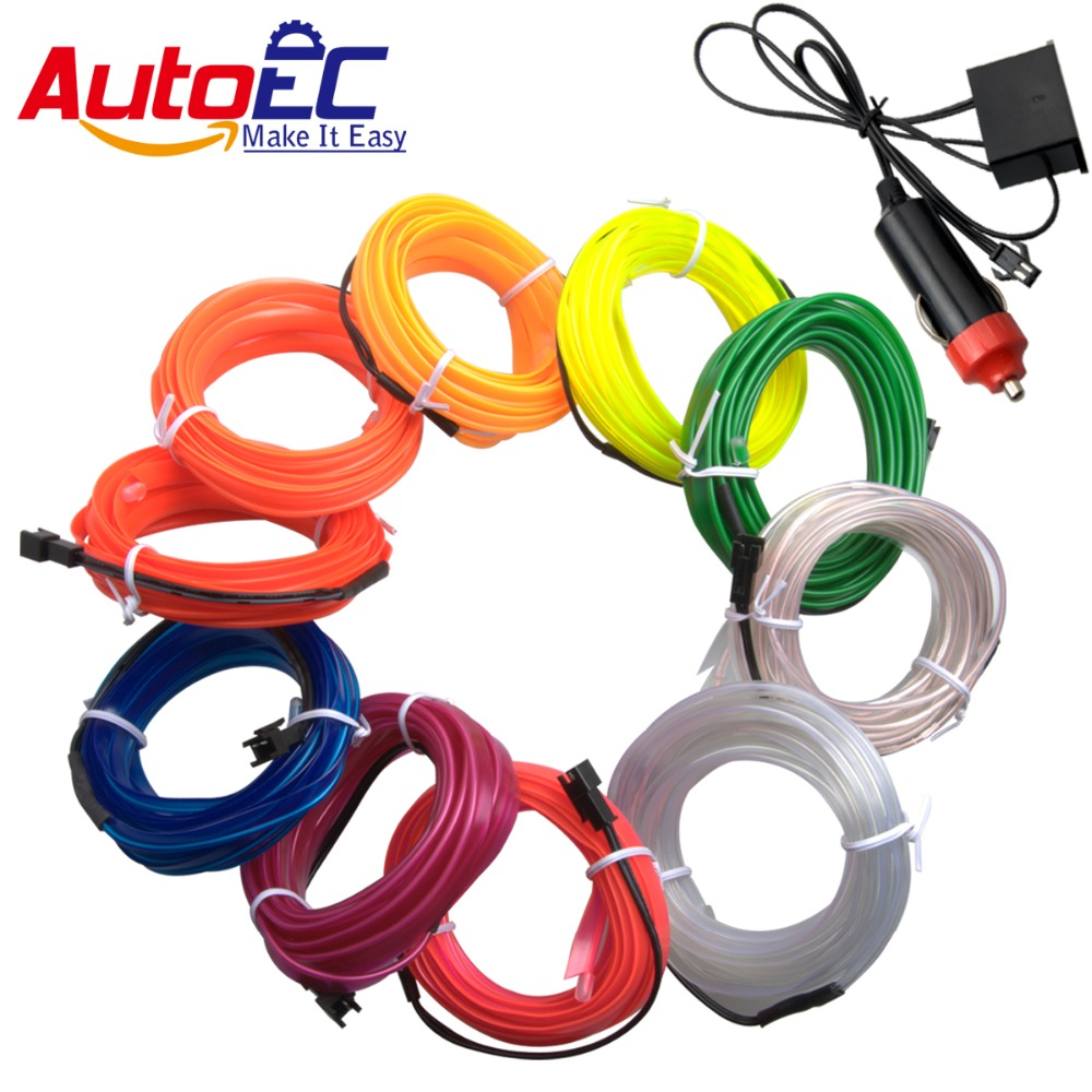 AutoEC 3m 5m flexible neon light glow el wire rope strip wire flat led strip for car atmosphere lights inverter #LQ313