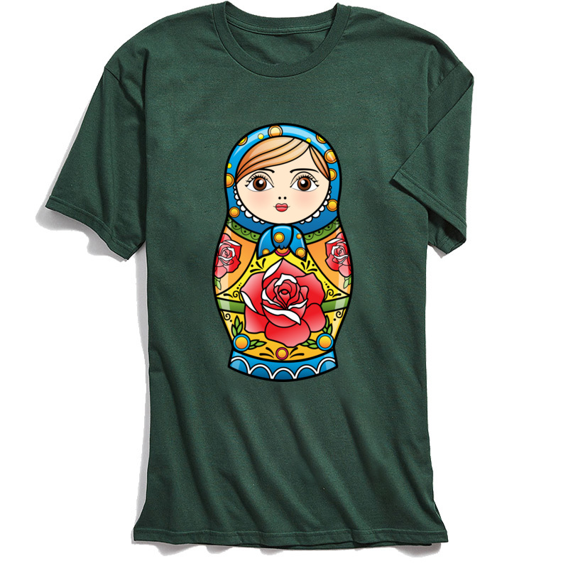 Kawaii T shirt Printed Men T Shirts RUSSIAN NESTING DOLL Custom Gift Tshirt Matryoshka Cartoon Tops Tees Summer Clothes Cute in T Shirts from Men 39 s Clothing