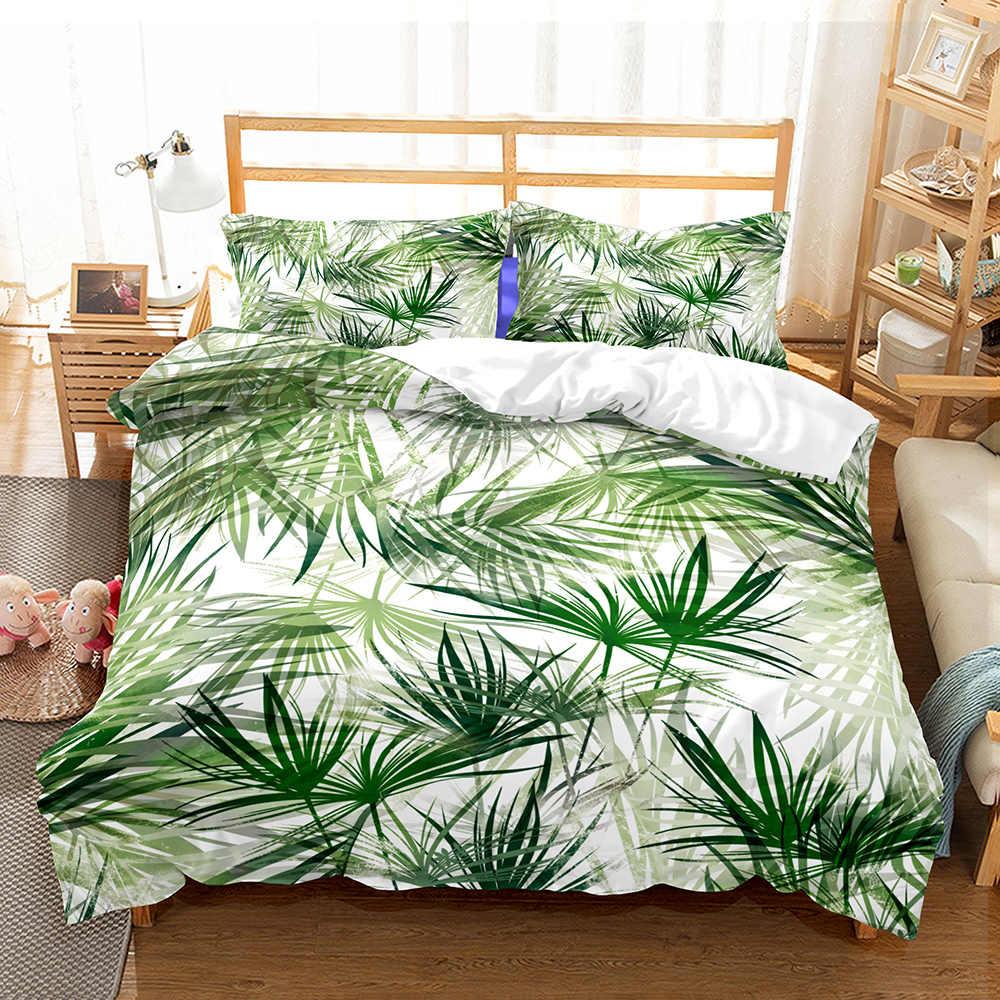 Tropikalny las deszczowy rośliny zielony zestaw pościeli prostota w stylu nordyckim kołdra z mikrofibry pokrowiec z poszewką rodzinny komplet pościeli