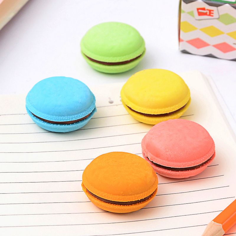 Creative Macaron Rubber Eraser Cute Kawaii Candy Color Erasers Stationery Office School Supplies Gift For Kids