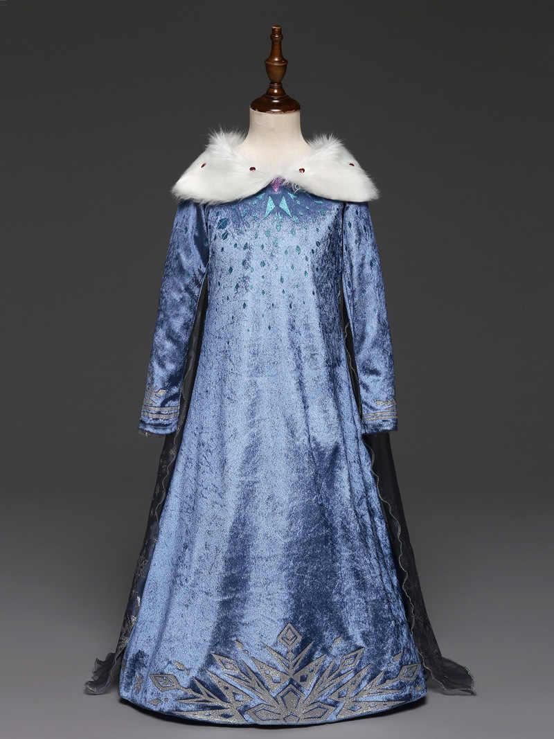 Vestido de elsa para niñas nuevo disfraz de reina de la nieve para niños vestidos de cosplay princesa vestido carnaval vestido de fiesta infantil congelados