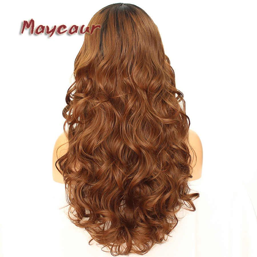 Peluca ondulada larga negra marrón roja sin pegamento con flequillo lateral pelucas de pelo sintético para mujeres negras Color Ombre pelo de fibra resistente al calor