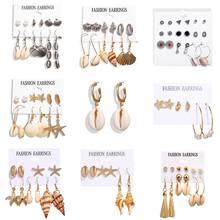 Hot Sea Shell Earrings Set For Women Gold Color Trendy Metal Cowrie Statement Dangle Summer Beach Jewelry New